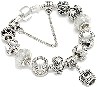 Silver Plated Blue Crystal Beads Charm Bracelet for Women DIY Glass Bracelet Wedding Jewelry Gifts