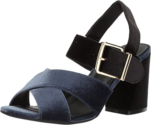 Kenneth Cole REACTION Woherren Lilia Velvet Dress Sandal with Flarot Block Heel Heeled, Indigo, 10 M US