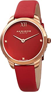 Akribos Swarovski Crystal Studded Watch – 3 Genuine Diamond Markers, Comfortable Leather Strap, Japanese Quartz - Elegant Women's Watch - AK1059