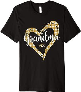 Mizzou Tigers Checkered Heart Outline - Grandma Premium T-Shirt