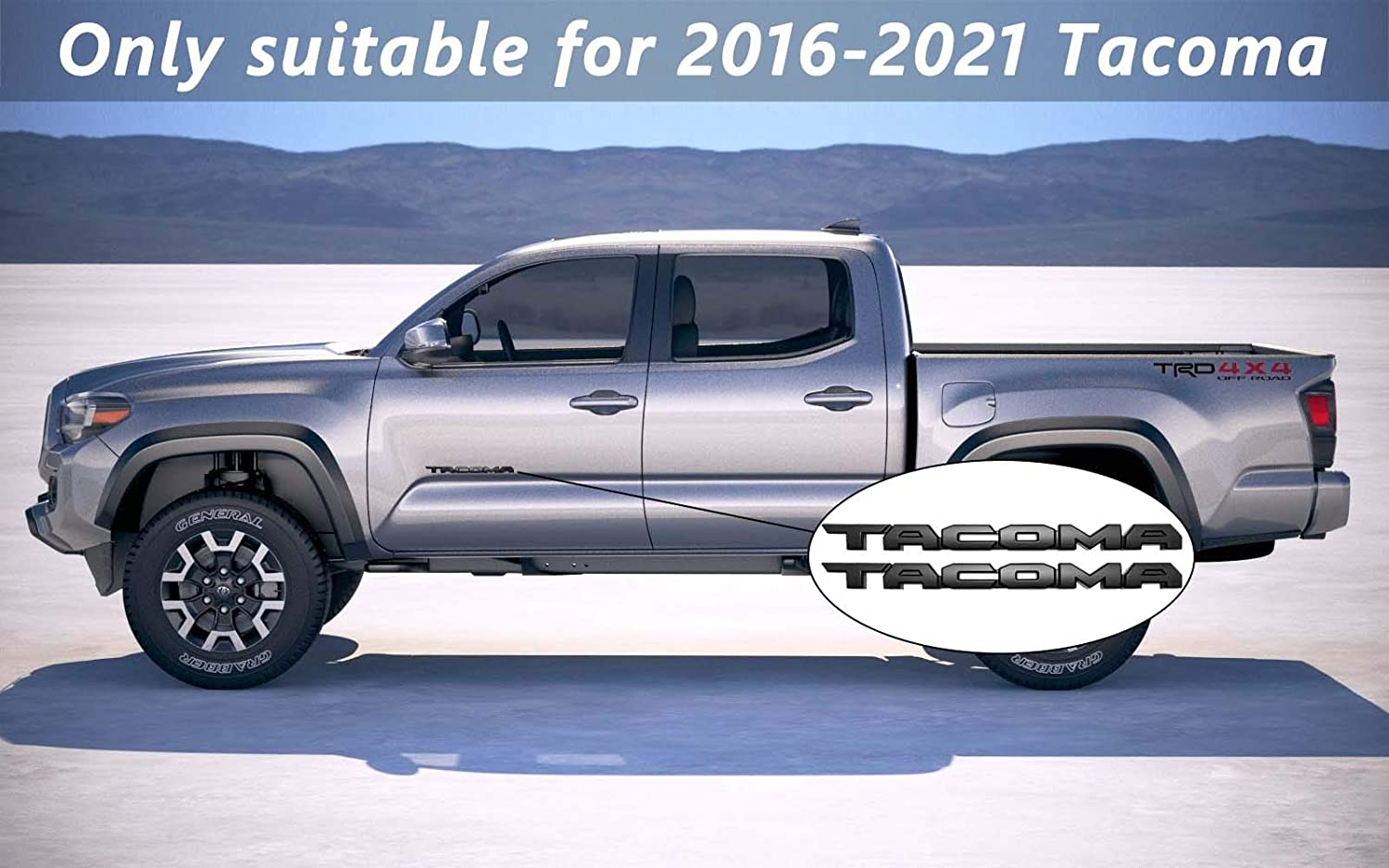 used for car safety made of durable ABS plastic KIT PT948-35180-02 Black 4 pieces Jusen is suitable for 2016-2021 TAC Blackout Emblem Overlay Tacoma accessories