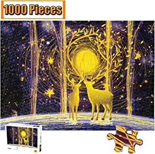 Cool Wall Decal Sticker Vinyl Jigsaw Puzzle 1000 Pieces Wooden Puzzles Artwork Art for Teen Adult Grown Up Puzzles Large Size Toy Educational Games Gift 1000 PCS (Forest Deer)