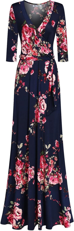 Bon Rosy Women's 3 4 Sleeve VNeck Printed Maxi Wrap Dress