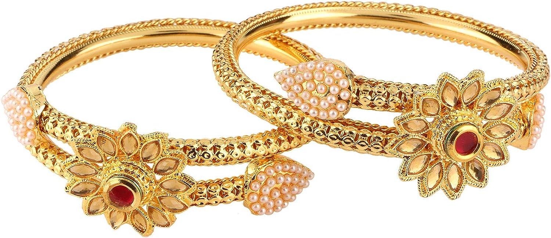 Efulgenz Fashion Jewelry Indian Bollywood 14 K Gold Plated Faux Pearl Kundan Rhinestone Floral Bracelet Bangle