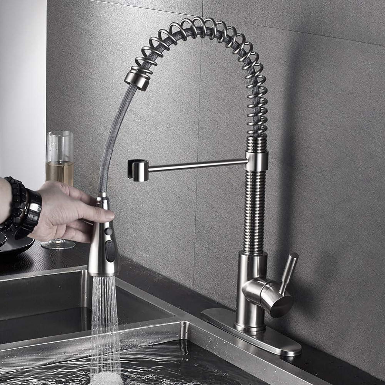 VIOYO Wasserhahn Wasserhahn Küchenarmaturen Nickel gebürstet Armaturen für Küchenspüle Single Pull Out Spring Auslauf Mischbatterie Warm Kaltwasserhahn