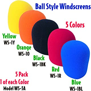 Performance Plus Deluxe 5 Color Assorted Foam Ball Style Microphone Windscreens (WS-5A)