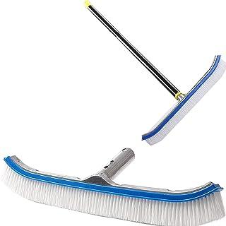 "MIYA Swimming Pool Brush with 10ft Pole - 18"" Polished Nylon Bristles Pool Brush Head - Brush Designed for Cleans Walls Ti..."