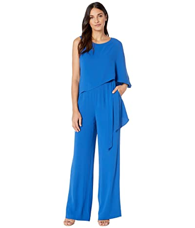 Halston Flowy Draped Jumpsuit (Cobalt) Women