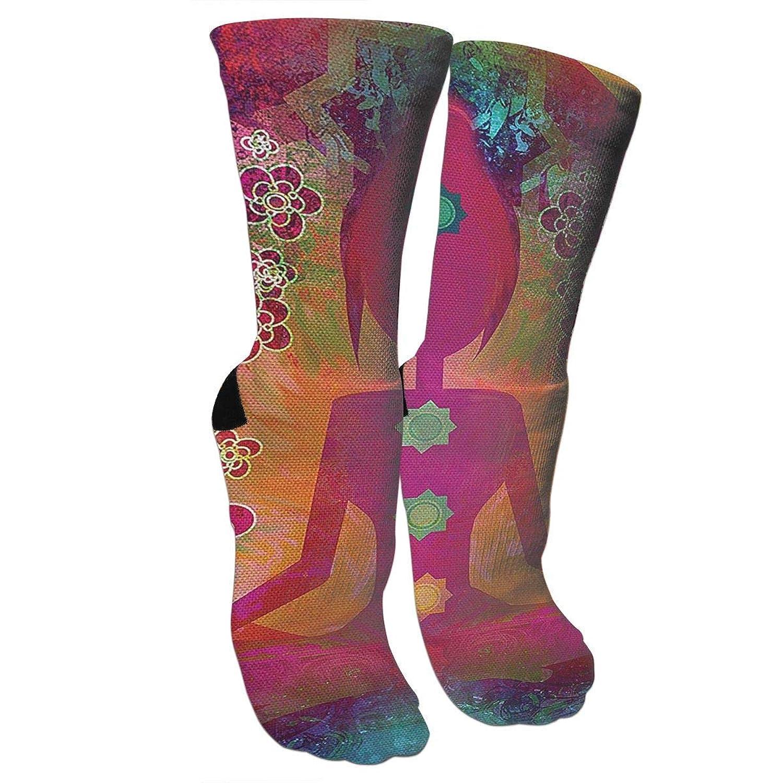 靴下 抗菌防臭 ソックス パタマナチャクラアスレチックスポーツソックス、旅行&フライトソックス、塗装アートファニーソックス30 cmロングソックス