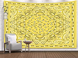 Pamime Beach Art,Home Decor Tapestry Yellow Bana Print Dorm Room Bedroom Living Room 80X60 Inches(200X150Cm) Bedspread Inhouse,Silver White