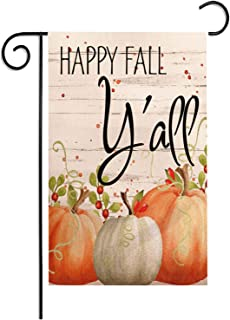 Hello Fall Yall 12.5x18 Inch Pumpkin Garden Flag 2 Side Pattern,Munzong Cotton Linen Farmhouse Yard Sign, Autumn Leaves Harvest Country Seasonal Outdoor Vintage Decor Happy Thanksgiving Halloween Flag