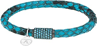 Alexandra Plata Leather Snakeskin Bracelet in Turquoise with Ruthenium Plated 0925 Silver Magnetic Clasp and Black Cubic C...