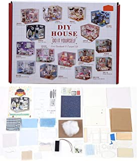 DIY Dollhouse, 3D Mini Doll House Toy with Dust Cover Bed Desk Cabinet Telescope Bedroom Furniture Kit Fun Home Toy Gift for Baby Toddlers Child