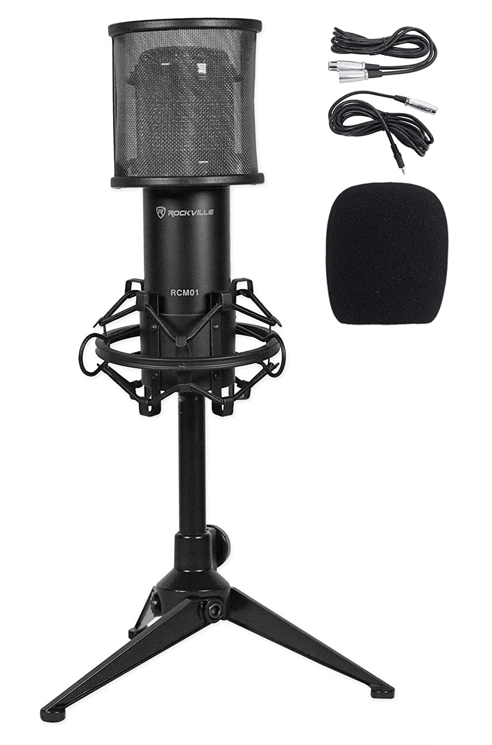 Rockville RCM01 PC Gaming Twitch Stream Microphone Mic+Shock Mount+Desk Stand