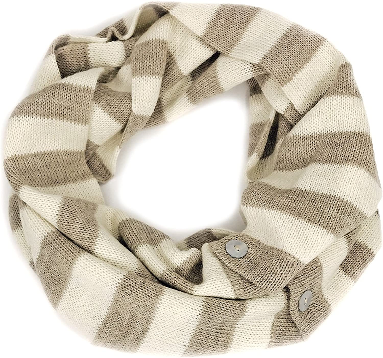 100% Baby Alpaca 2in1 Congreenible Striped Infinity Circle Scarf  Unisex