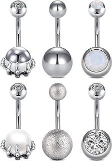 14G Piercing Ombelico Acciaio Inossidabile Piercing Pancia Diamante Perla Matte Ball 10MM Gioielli per il corpo Donna Uomo