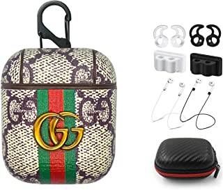 Compatible with Air Pods Leather Case Cover,Five Star Online Luxury Leather GG Monogram Air-Pod Cover Protective Case Skins with Ear Hook Grips/Holder/Staps/Carrying Box/Carabiner for Earpods Case