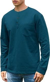 Men's Casual Long Sleeve Henley Pocket T-Shirts Cotton Shirts