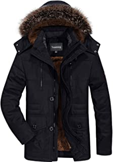 Tanming Men`s Winter Warm Faux Fur Lined Coat with Detachable Hood
