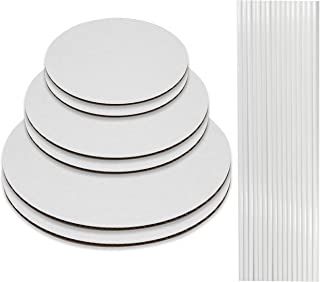 Cake Boards and Plastic Dowels, 6 Cardboards Cake Circle Bases, 6,8, and 10 inch, 2 of Each Size, with 16 Dowels - Supplies for Two 3 Tier Cakes