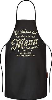 RAHMENLOS Rahmenlos - Delantal de cocina (algodón), diseño con texto en alemán