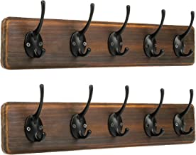 Coat Rack Wall Mount, PHINGEER Coat Hooks for Wall, Hat Rack with 5 Decorative Hook, Rustic Hooks for Entryway, Mudroom, B...