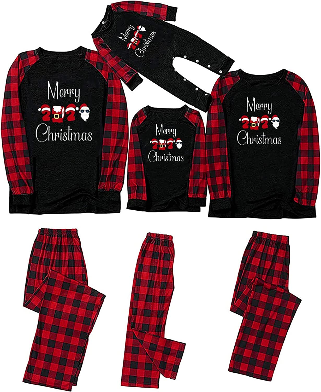 Family Matching Pajamas Christmas Jammies Clothes Print Top and Plaid Pants Holiday Sleepwear Sets Long Sleeve Pjs