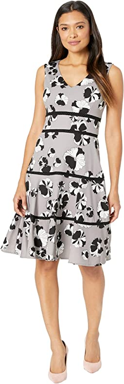 V-Neck Hibiscus Print A-Line Dress