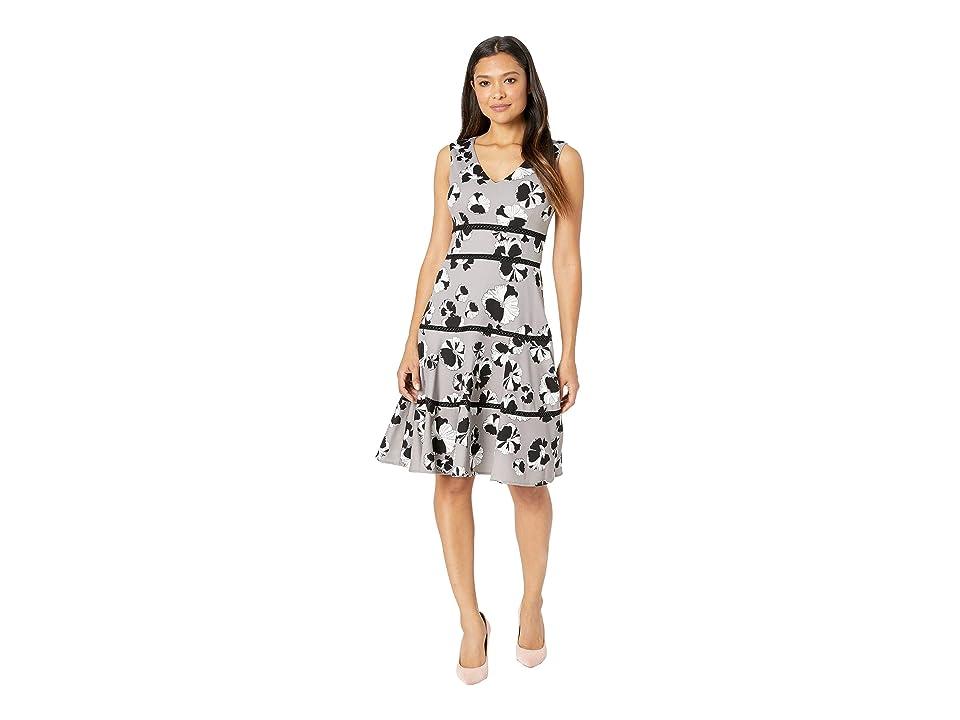 Taylor V-Neck Hibiscus Print A-Line Dress (Grey/Black) Women