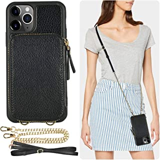 iPhone 11 Pro Max Wallet Case, ZVE iPhone 11 Pro Max Case with Credit Card Holder Slot Crossbody Chain Handbag Purse Wrist Zipper Leather Case Cover for Apple iPhone 11 Pro Max 6.5 inch 2019 - Black