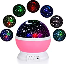 Connectwide Projection Light Night Lighting Lamp Star Projector lamp with 8 Multicolor 360°Rotation with 6.5ft USB Cable,Best Lamp for Man Woman Children Kids Bedroom (Pink)