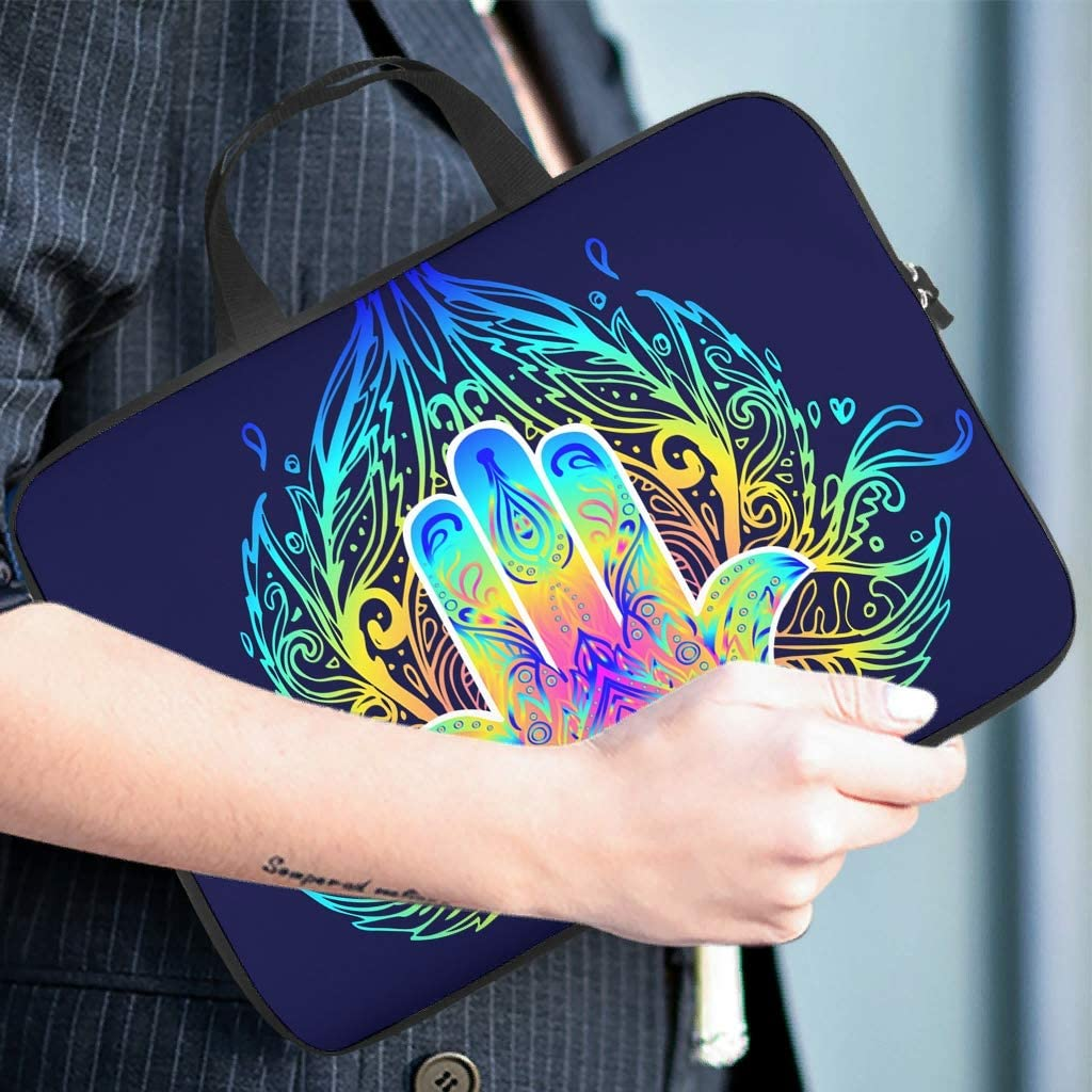 Hamsa Hand Lotus Flower Laptop Sleeve Customized Double-Sided Printed Notebook Protective Bag Anti-Scratch Polyester Laptop Computer Briefcase for Wife Husband White 17inch