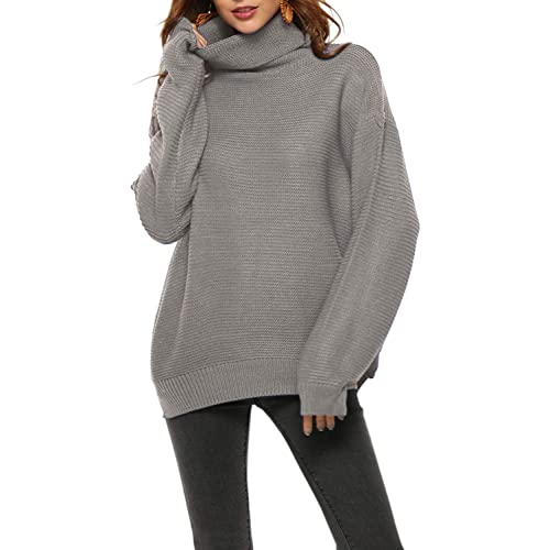 4af6f66dcb Fantastic Zone Womens Turtleneck Pullover Sweater Long Sleeve Oversized  Knitted Warm Sweaters