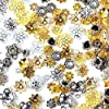 【京珠堂】座金 ビーズ アクセサリーパーツ 50g 金古美 アソートセット ゴールド シルバー (ランダム)