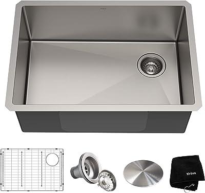 Kraus KHU110-27 Standart PRO 27-inch 16 Gauge Undermount Single Bowl Set (5 Item Bundle: Sink, Bottom Grid, Assembly, Drain Cap, Kitchen Towel), 27 Inch, Stainless Steel