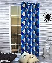Home Ready 1 Piece Eyelet Polyester Long Door Curtain Set-Size-7 feet Long,Blue