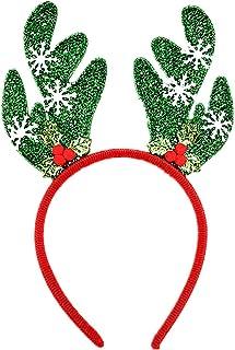 Glass Wire Red and Green Antler Headband Christmas Snowflake Antler Headband