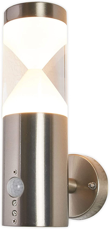 Lampenwelt LED Wandleuchte auen 'Fabrizio' mit Bewegungsmelder (spritzwassergeschützt) (Modern) in Alu aus Edelstahl (1 flammig, A+, inkl. Leuchtmittel) - Auenlampe, Wandlampe für Outdoor & Garten