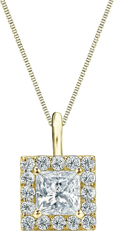 14k Yellow Gold Halo Princess-Cut Diamond At the price of Rare surprise 1 4-1 ctt Pendant 2