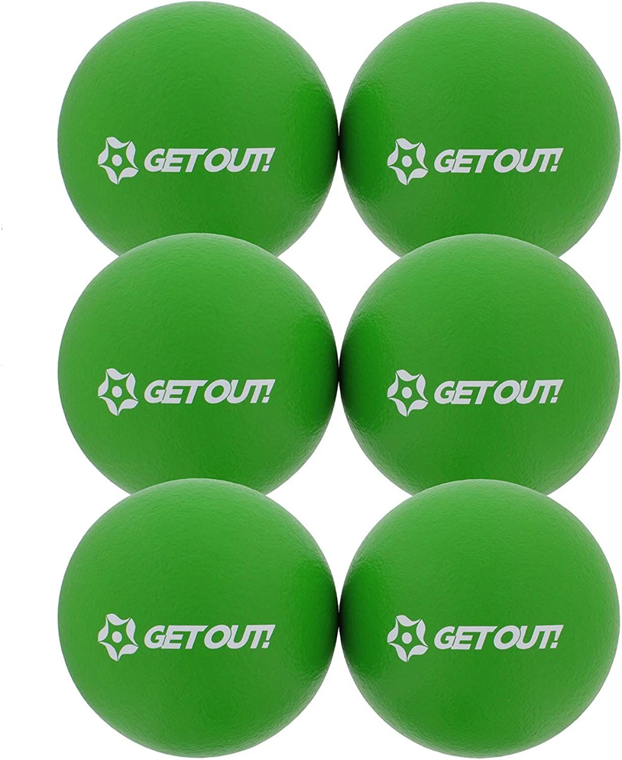 (Green)  Get Out 6  inch Foam Dodgeballs 6Pack Set  Soft, Lightweight, LatexFree Sponge Playground Dodgeball Balls