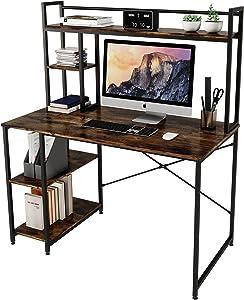 Bestier Computer Desk with Hutch and Bookshelf, 47