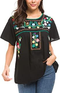YZXDORWJ Women's Embroidered Mexican Peasant Blouse