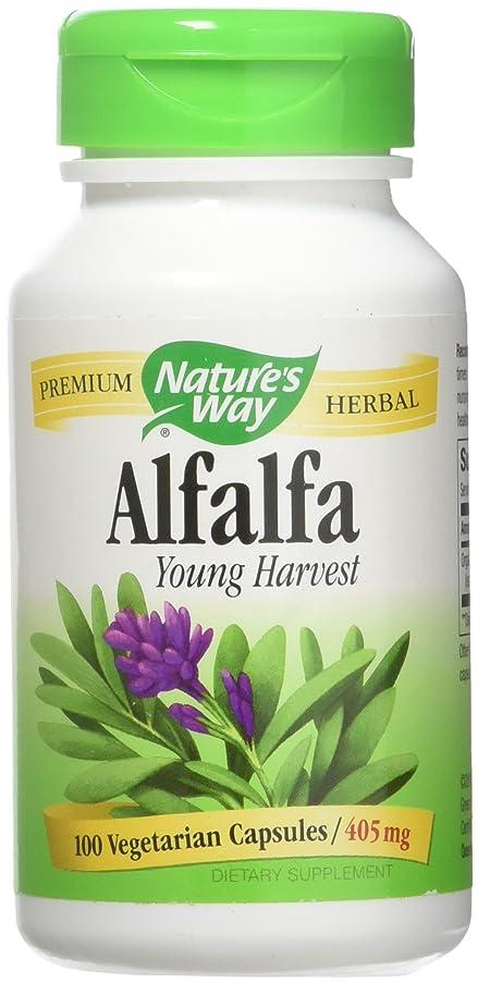 ご予約プロットジャンクションNature's Way - アルファルファの若い収穫 405 mg。100ベジタリアン用カプセル