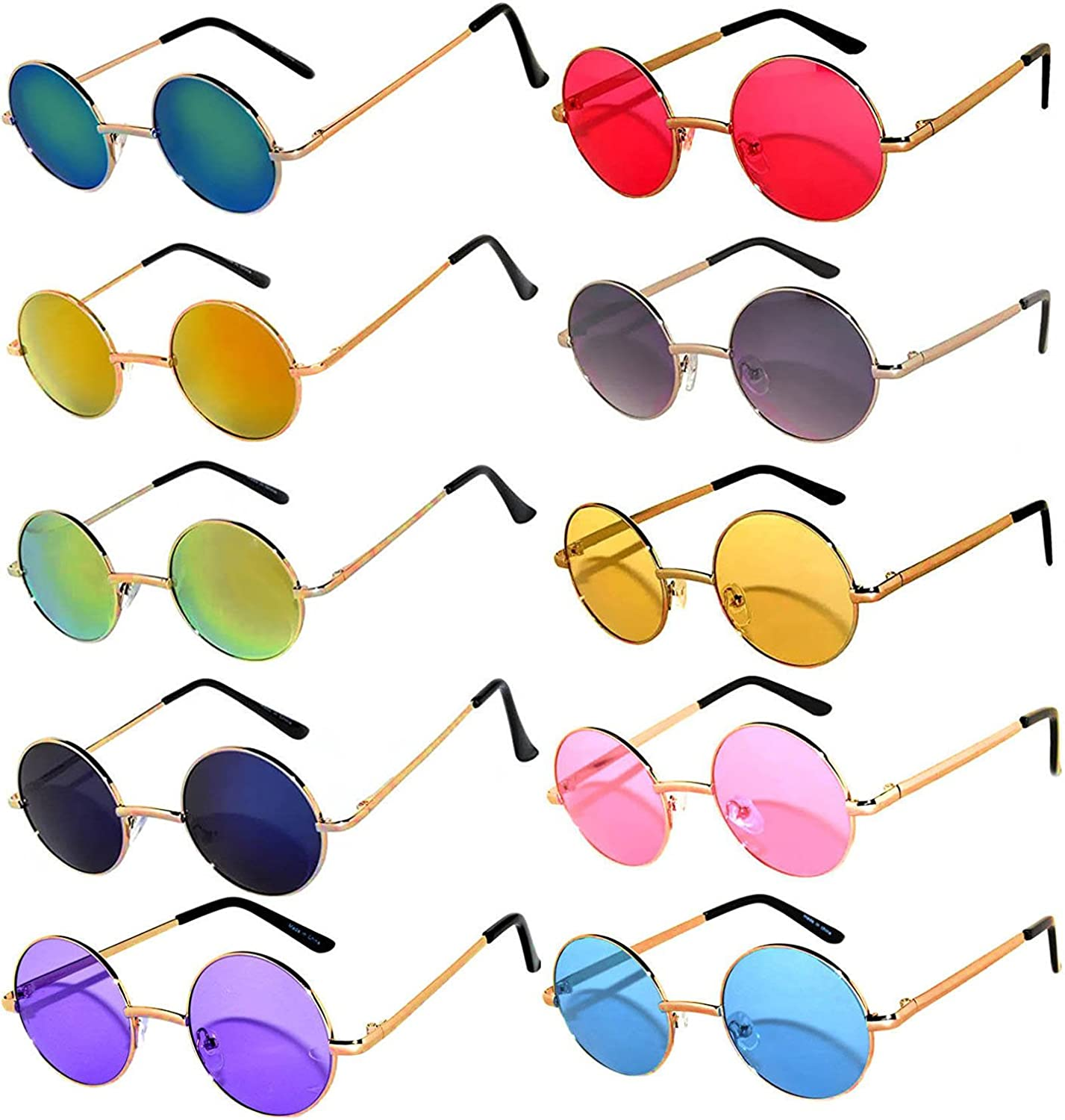 10 Pack Round Retro Vintage Circle Style Sunglasses colord Metal Frame