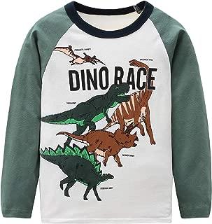 HowJoJo Boys Dinosaur T Shirts Cotton Long Sleeve Shirt Graphic Tees