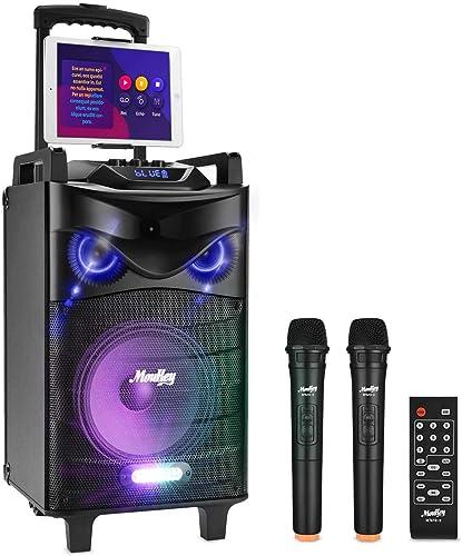 Bluetooth Sonorisation Portable Moukey Karaoké Speaker Haut-parleurs 160W Enceinte Sono PA système avec lumières DJ d...