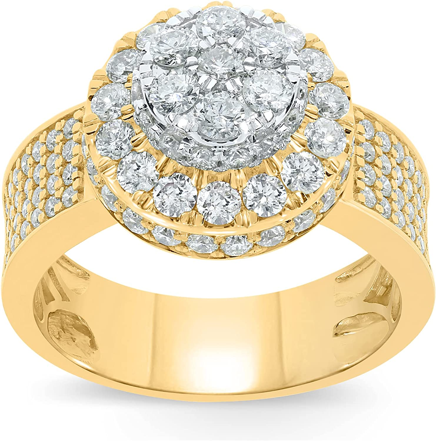 10k Yellow Gold 3 Carat Real Diamond Engagement Pinky Ring Band (3 cttw, H-I Color, SI2-I1)