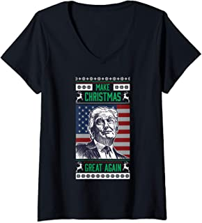 Womens Make Christmas Great Again Donald Trump V-Neck T-Shirt