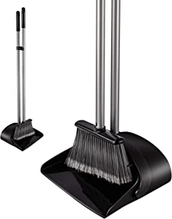 Eyliden. ほうき ちりとり 掃除セット 自立式 収納に便利 掃除道具 長柄 長さ調整可 94cm-135cm 室内 玄関 ホーム 美容室 ショップ最適 (ブラック)
