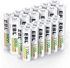 EBL 24PCS Kit AA et AAA Piles Rechargeables- avec 12x AA 2800mAh et 12x AAA 1100mAh Piles Rechargeables (avec Boîte de Stockage de Piles)